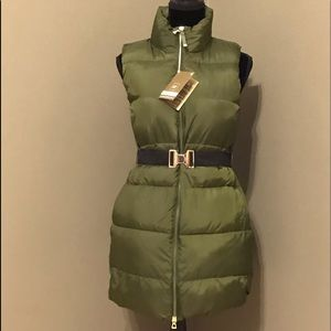 Women Army Green Primaloft Puffer Belted Long Vest